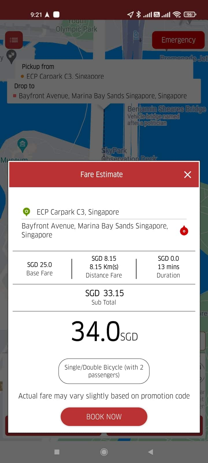 vimo services mobile app bicycle transport fare from east coast park to marina bay sands $34