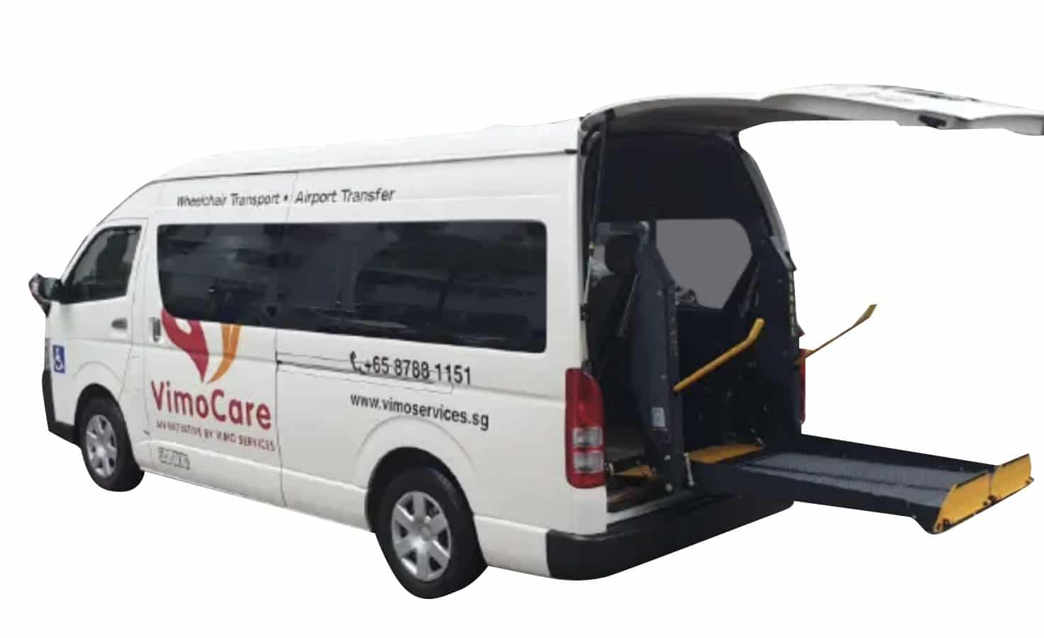 wheelchair accessible vehicle deployed hydraulic lift used for singapore wheelchair transport services