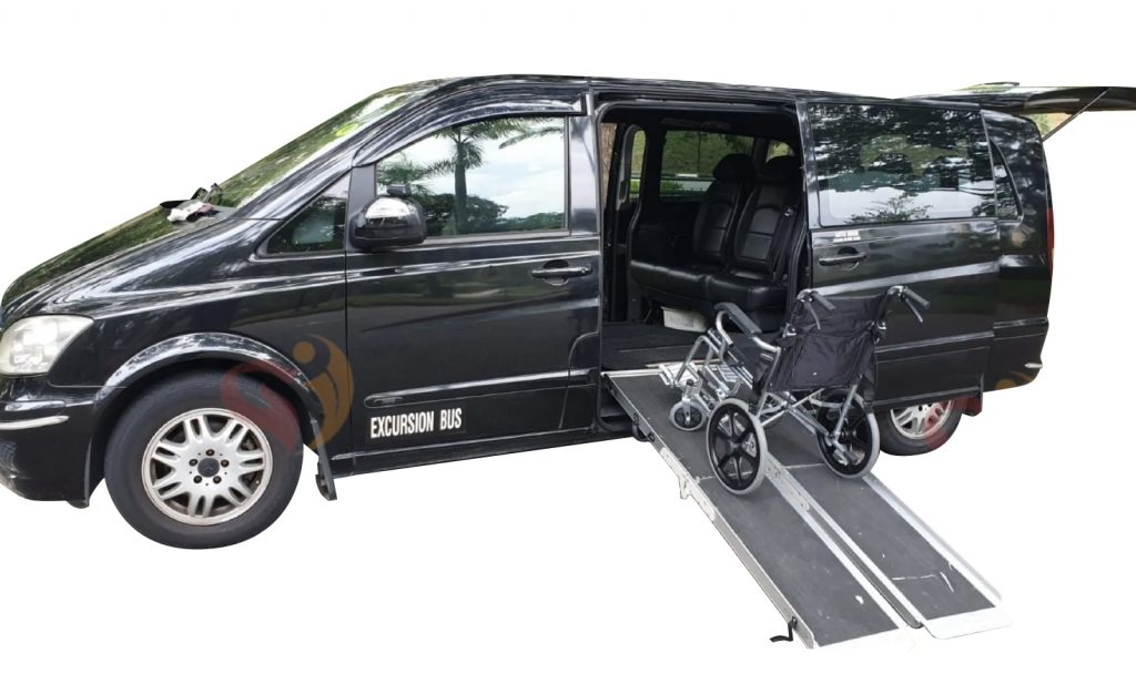 wheelchair accessible vehicle deployed ramp used for Singapore wheelchair transport